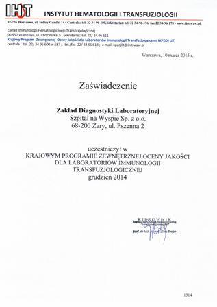 Certyfikat KPZOJ LIT Warszawa