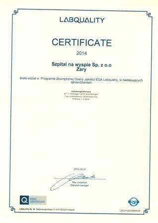 Certyfikat EQA Labquality Helsinki
